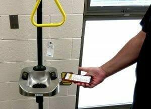 inspection app image showing EHS mobile barscan of an eyewash station